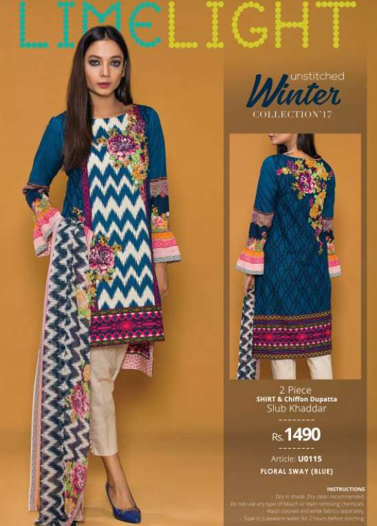 Lime Light Embroidered Khaddar Unstitched 2 Piece Suit LL17W 115 Blue