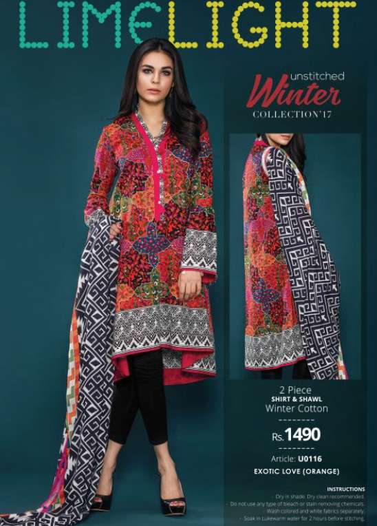 Lime Light Embroidered Khaddar Unstitched 2 Piece Suit LL17W 116 Orange