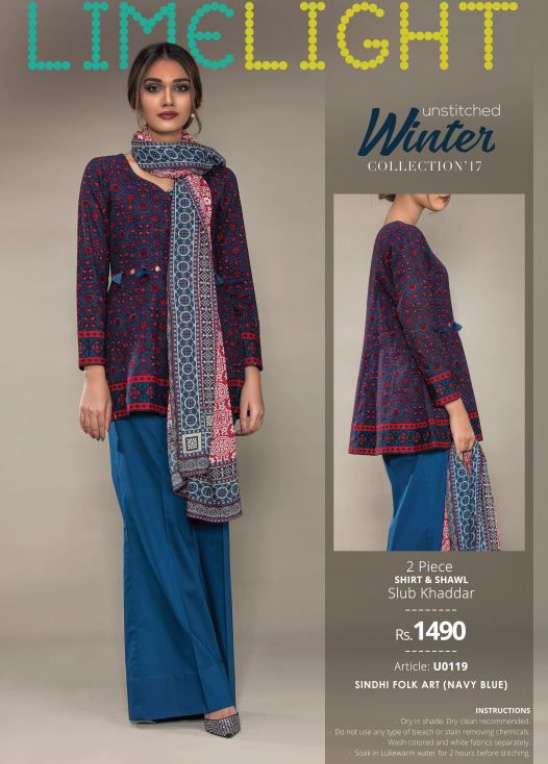 Lime Light Embroidered Khaddar Unstitched 2 Piece Suit LL17W 119 Blue