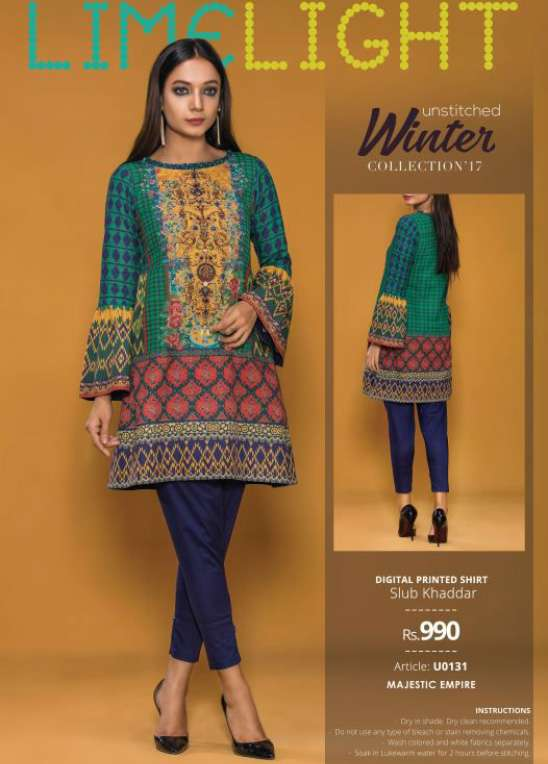 Lime Light Printed Cotton Unstitched Kurtis LL17W 131