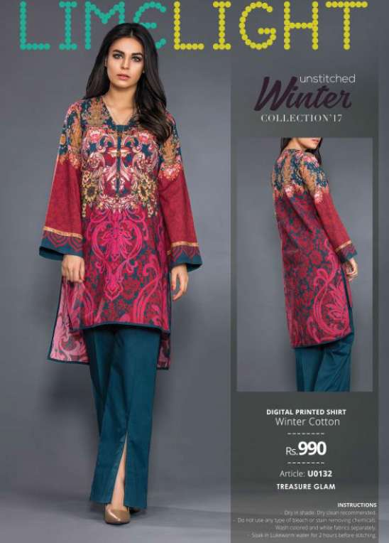 Lime Light Printed Cotton Unstitched Kurtis LL17W 132