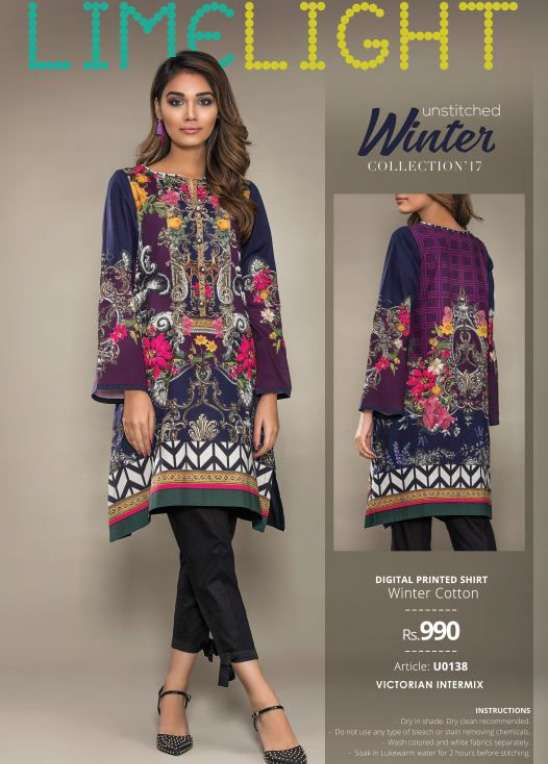 Lime Light Printed Cotton Unstitched Kurtis LL17W 138