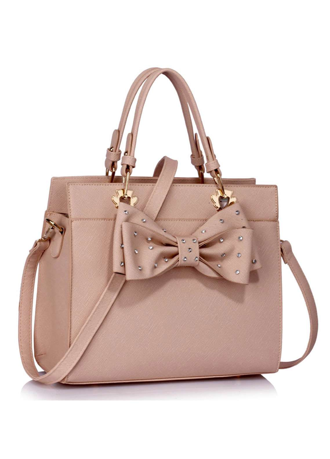 Leesun London Faux Leather Satchels Bags  for Women  Nude with Bow Style