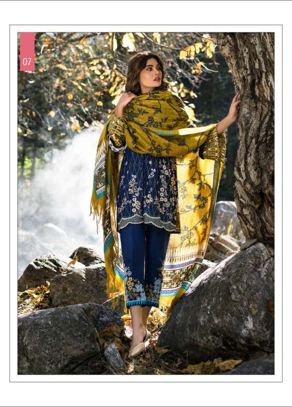 Lakhani Embroidered Linen Unstitched 3 Piece Suit LSM17W2 1B