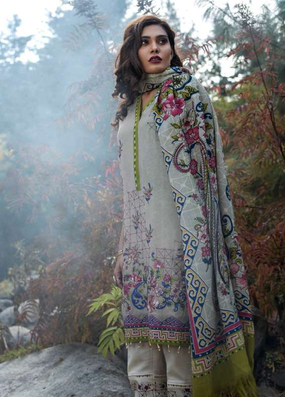 Lakhani Embroidered Linen Unstitched 3 Piece Suit LSM17W2 3B