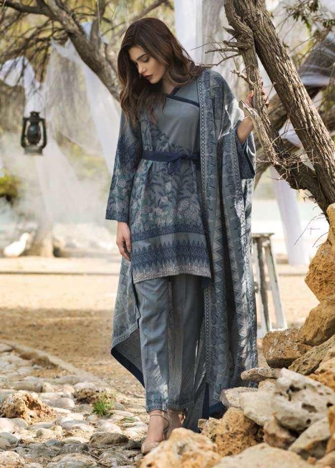 Lakhani Embroidered Cottle Linen Unstitched 3 Piece Suit LSM17W3 666B