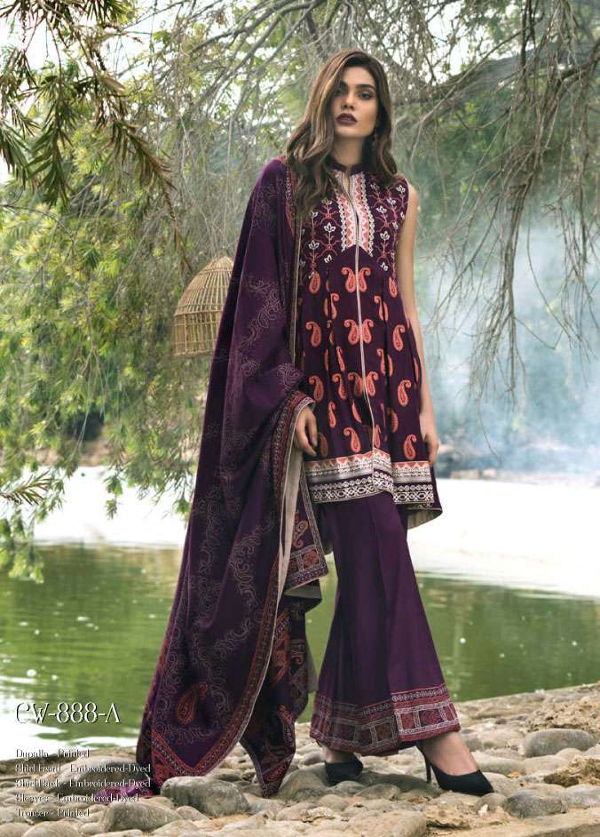 Lakhani Embroidered Cottel Linen Unstitched 3 Piece Suit LSM17W3 888A