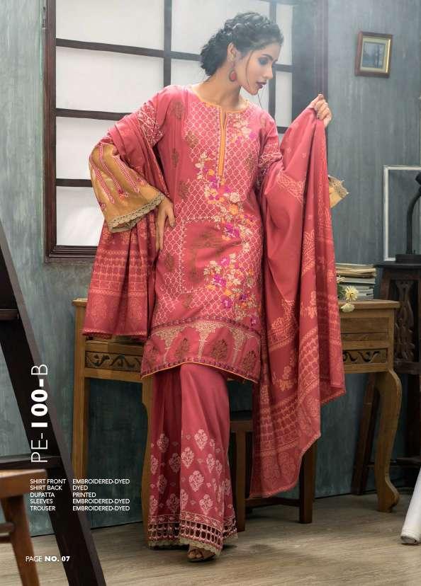 Lakhani Embroidered Pashmina Unstitched 3 Piece Suit LSM17W 100B