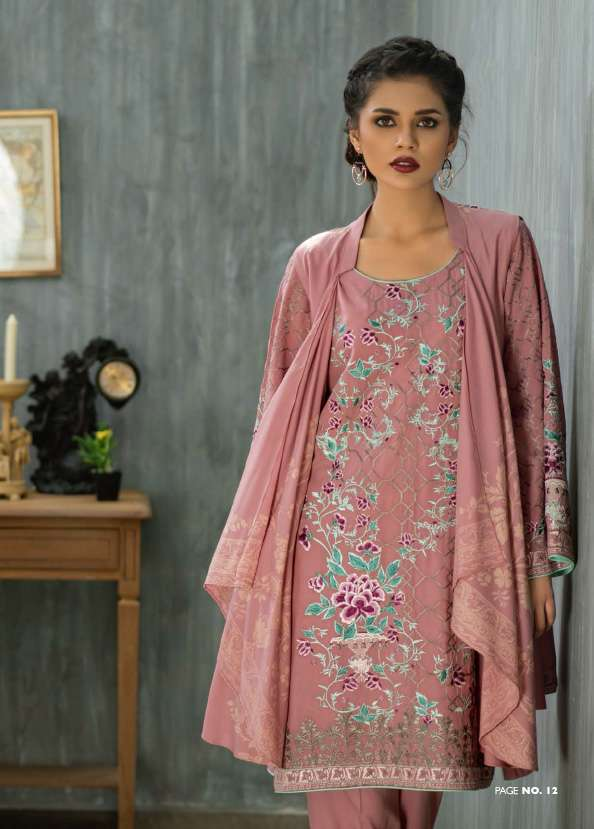 Lakhani Embroidered Pashmina Unstitched 3 Piece Suit LSM17W 200A