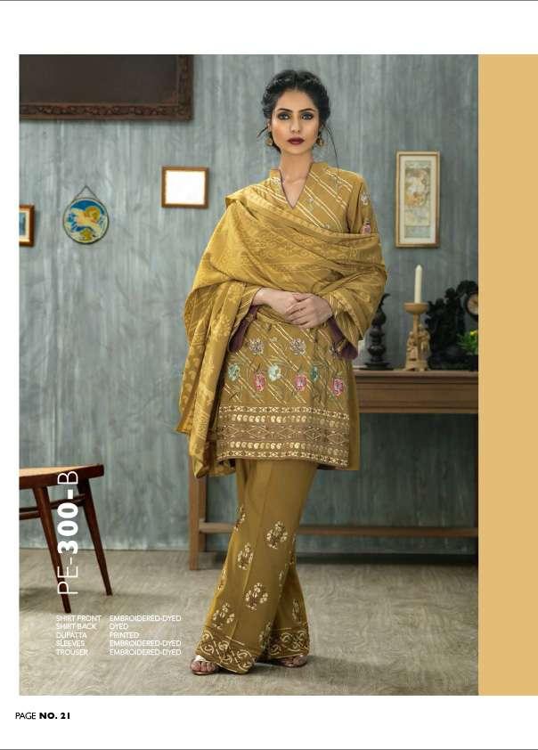 Lakhani Embroidered Pashmina Unstitched 3 Piece Suit LSM17W 300B