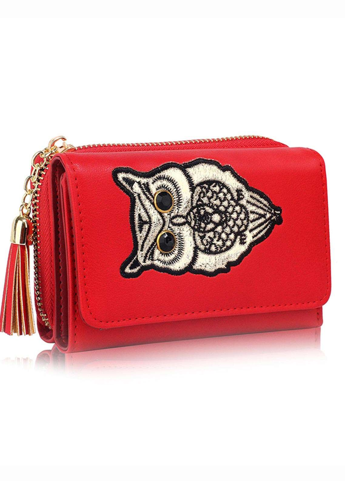 Anna Grace London Faux Leather Wallet   for Women  Red with Smooth Texture Grainy