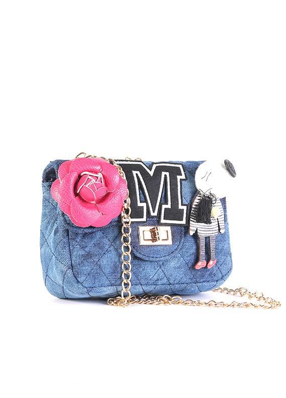 Denim Mini Handbags for Girls - Blue with Pink Flower Keyring