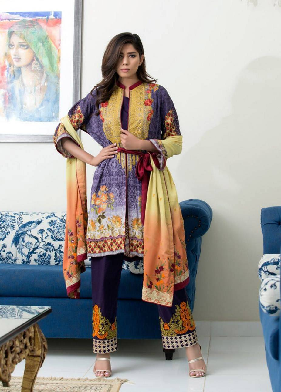 ZS Textile Embroidered Silk Unstitched 3 Piece Suit MA17W 01