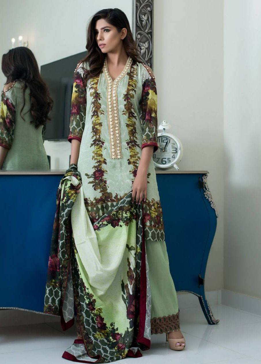 ZS Textile Embroidered Silk Unstitched 3 Piece Suit MA17W 05