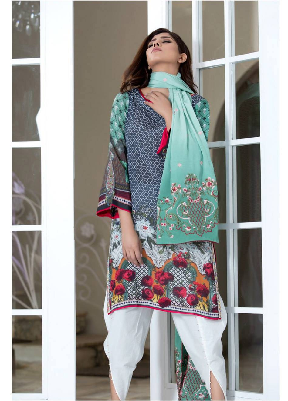 ZS Textile Embroidered Silk Unstitched 3 Piece Suit MA17W 06