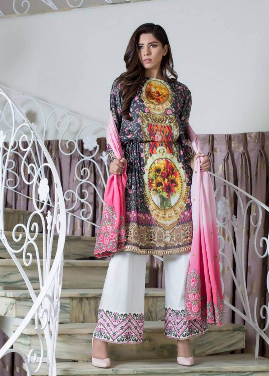 ZS Textile Embroidered Silk Unstitched 3 Piece Suit MA17W 07