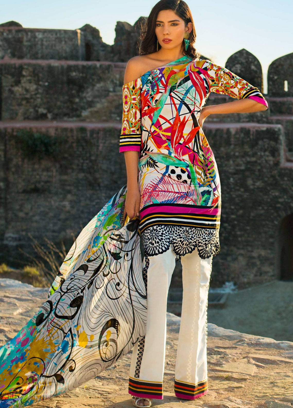 Maheen Karim by ZS Textile Embroidered Lawn Unstitched 3 Piece Suit MK19L 04 COLOR SPLASH - Spring / Summer Collection