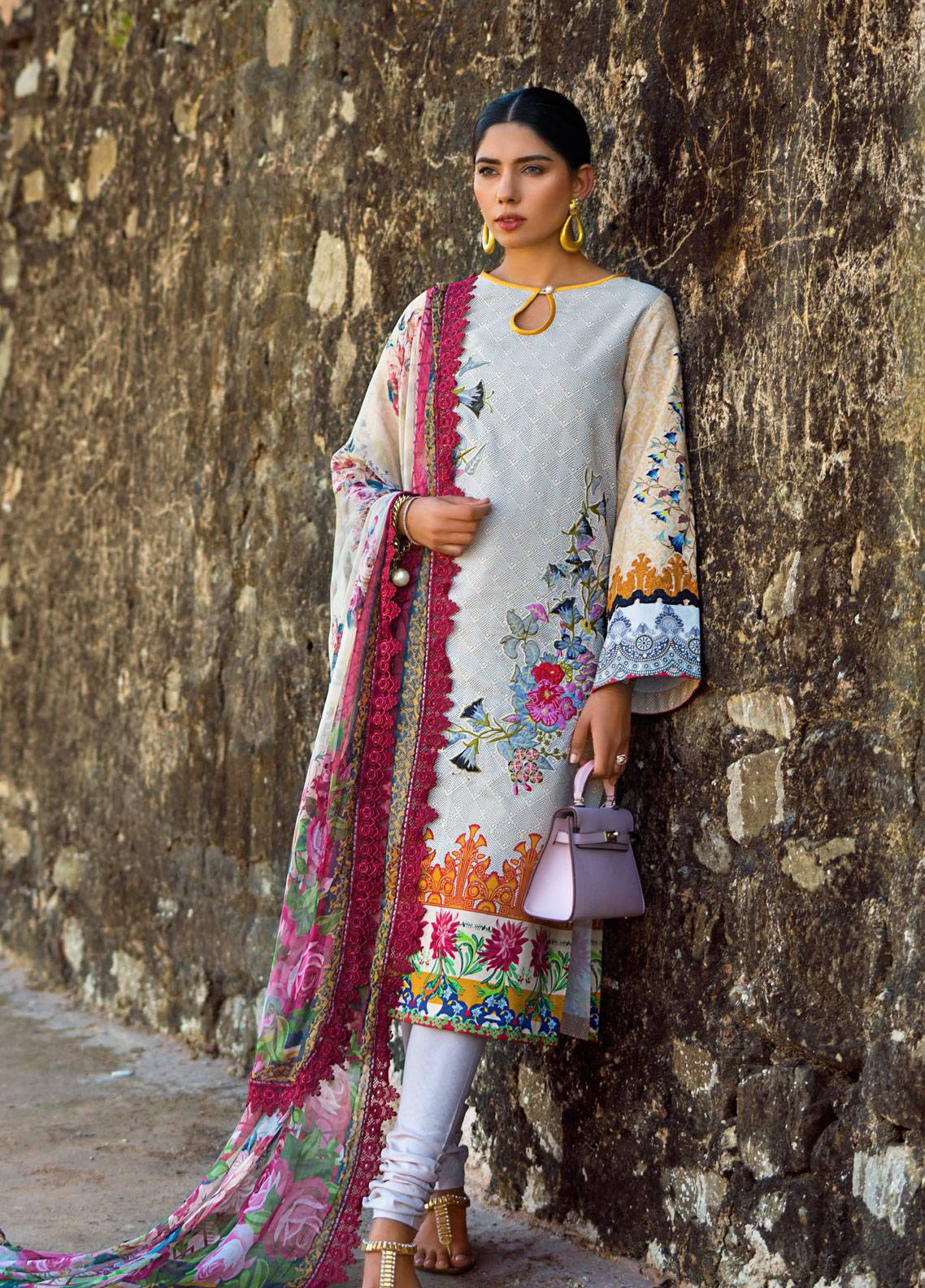 Maheen Karim by ZS Textile Embroidered Lawn Unstitched 3 Piece Suit MK19L 13 COFFEE & CREAM - Spring / Summer Collection