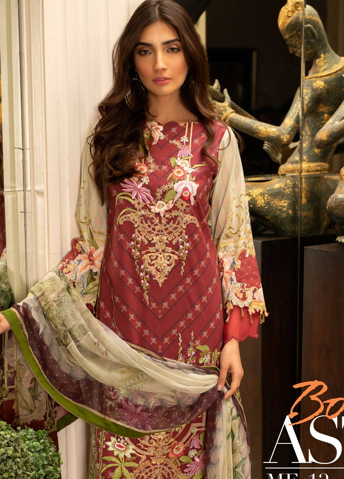 Malhar Embroidered Lawn Unstitched 3 Piece Suit ML19L 12 BOLD ASTER - Spring / Summer Collection