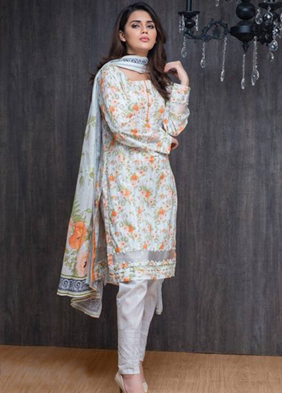 Malhar Printed Lawn Unstitched 3 Piece Suit ML19PL 12A - Spring / Summer Collection