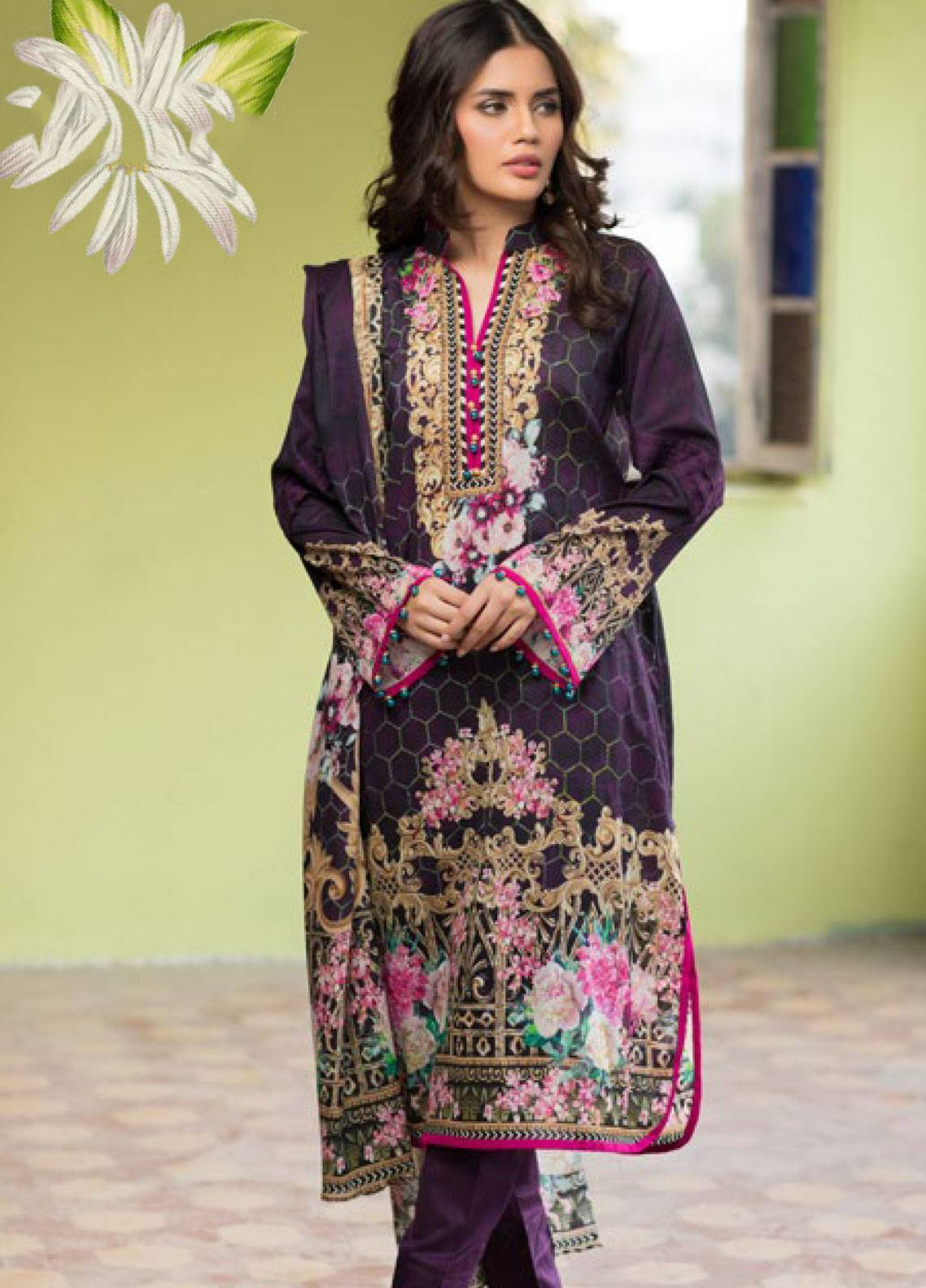 Malhar Printed Lawn Unstitched 3 Piece Suit ML19PL 27B - Spring / Summer Collection