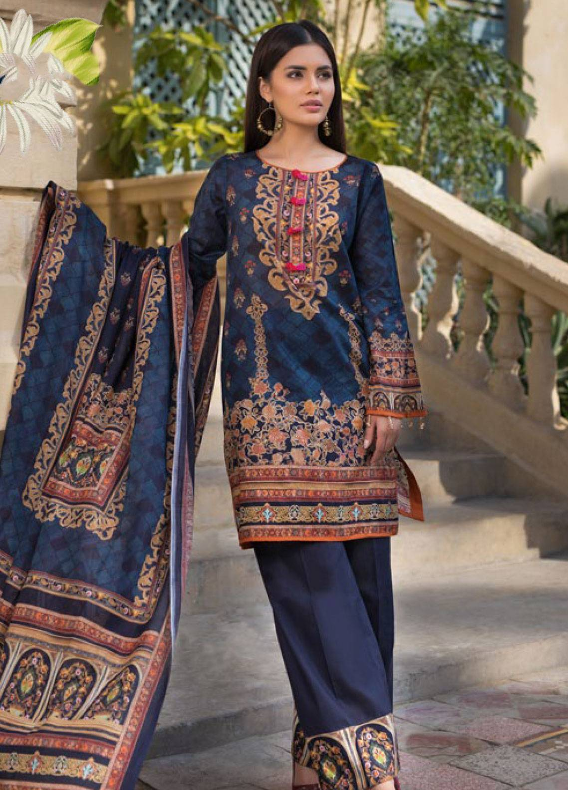Malhar Printed Lawn Unstitched 3 Piece Suit ML19PL 29B - Spring / Summer Collection