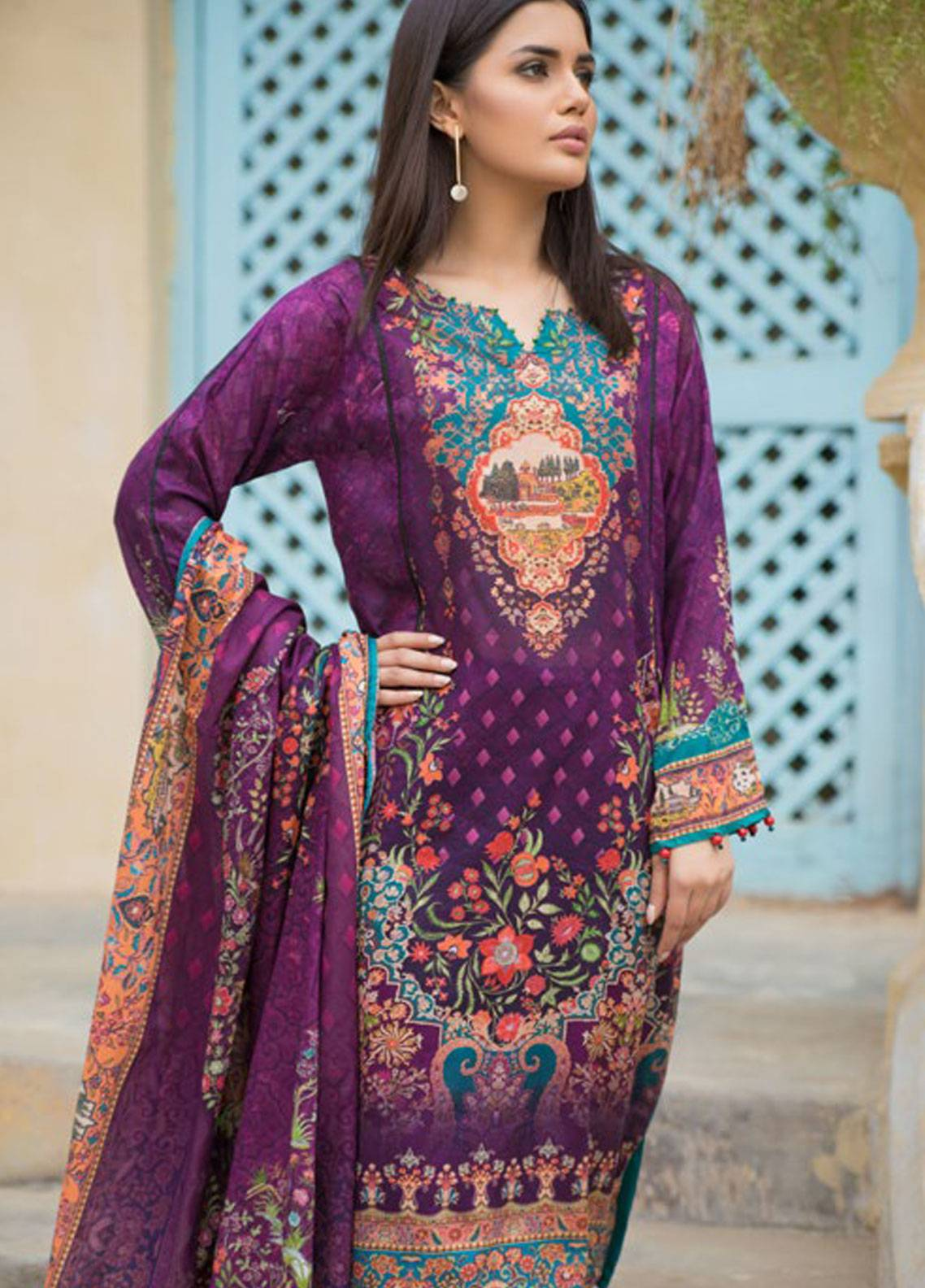Malhar Printed Lawn Unstitched 3 Piece Suit ML19PL 38B - Spring / Summer Collection