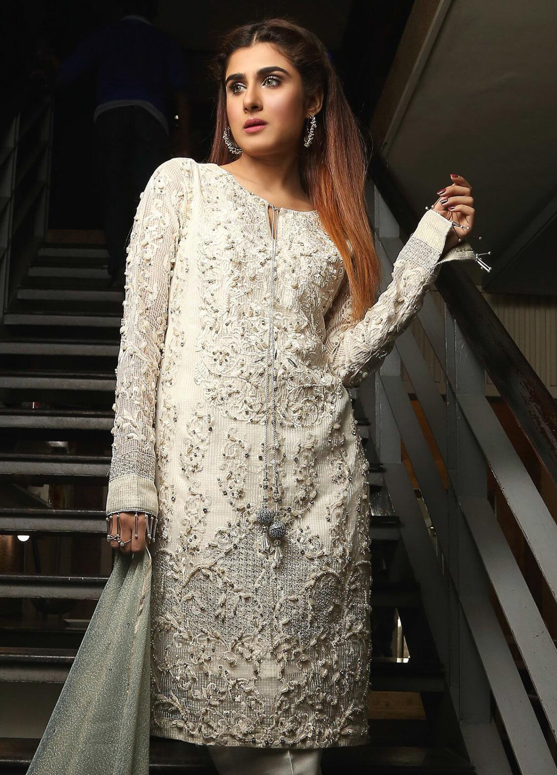 Maliha Kamal Embroidered Chiffon Unstitched 3 Piece Suit MK19C 063 PEARL MAGIC - Luxury Collection
