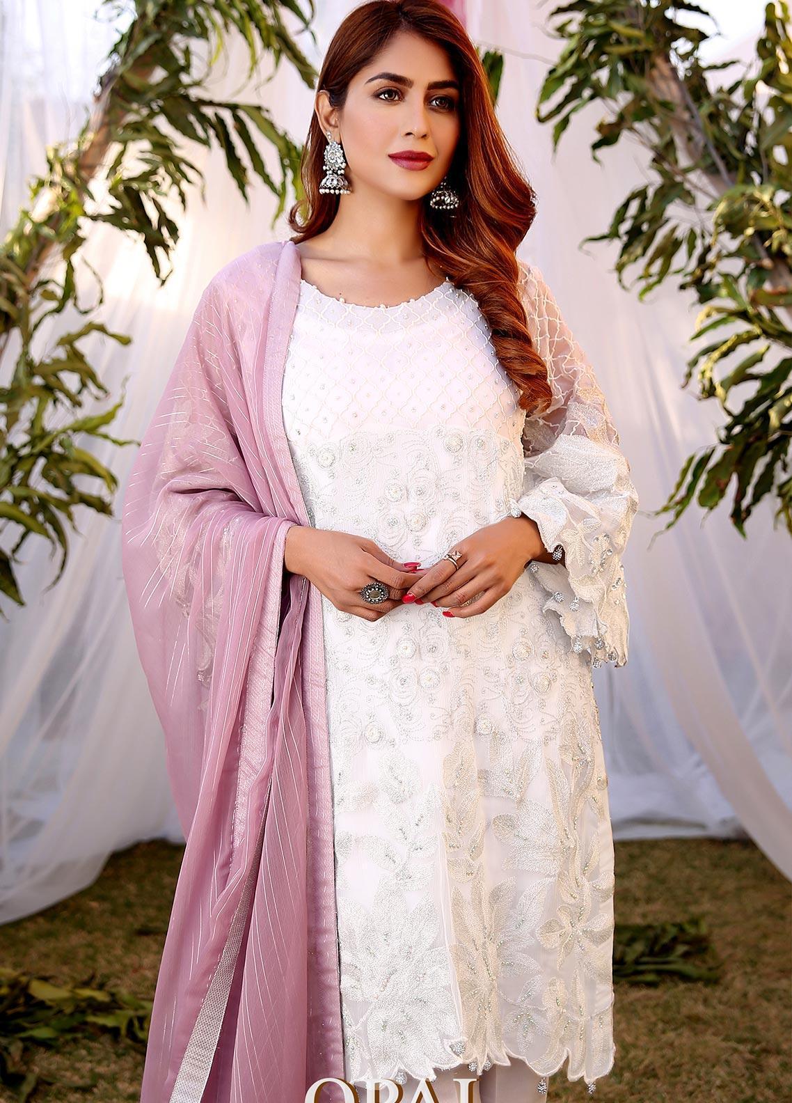 Maliha Kamal Embroidered Chiffon Unstitched 3 Piece Suit MK20C 177 OPAL - Luxury Collection