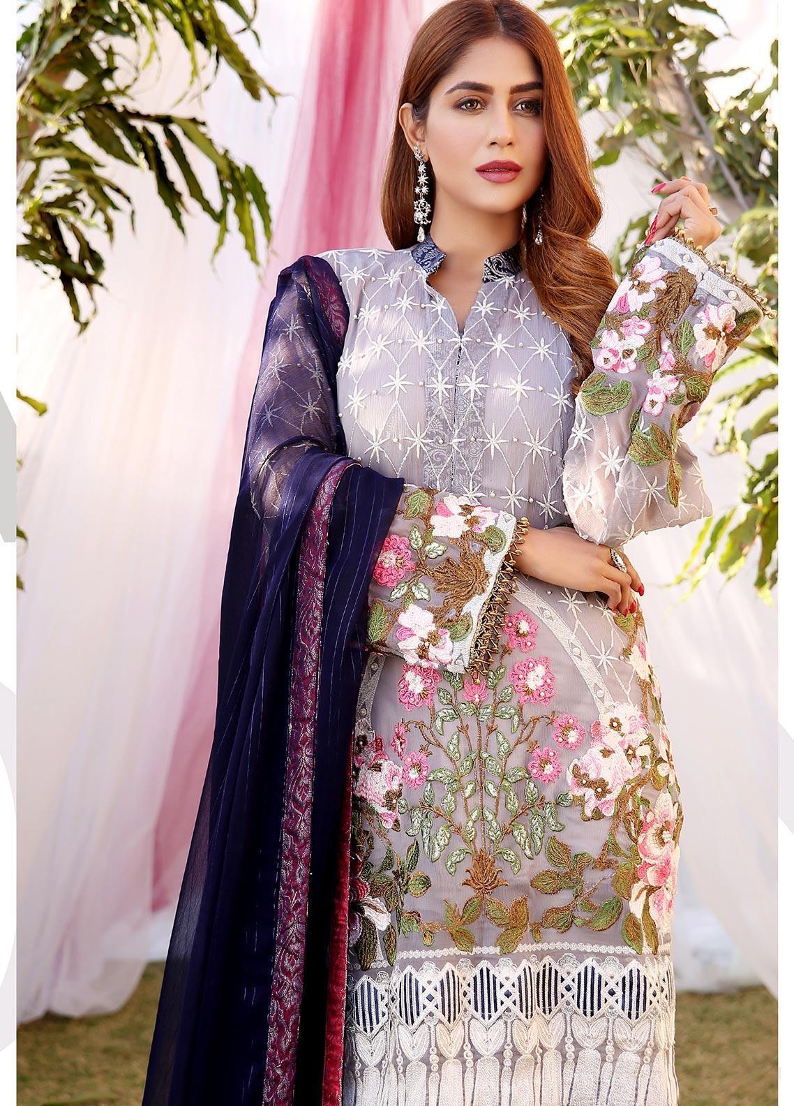 Maliha Kamal Embroidered Chiffon Unstitched 3 Piece Suit MK20C 178 MOONSTONE - Luxury Collection