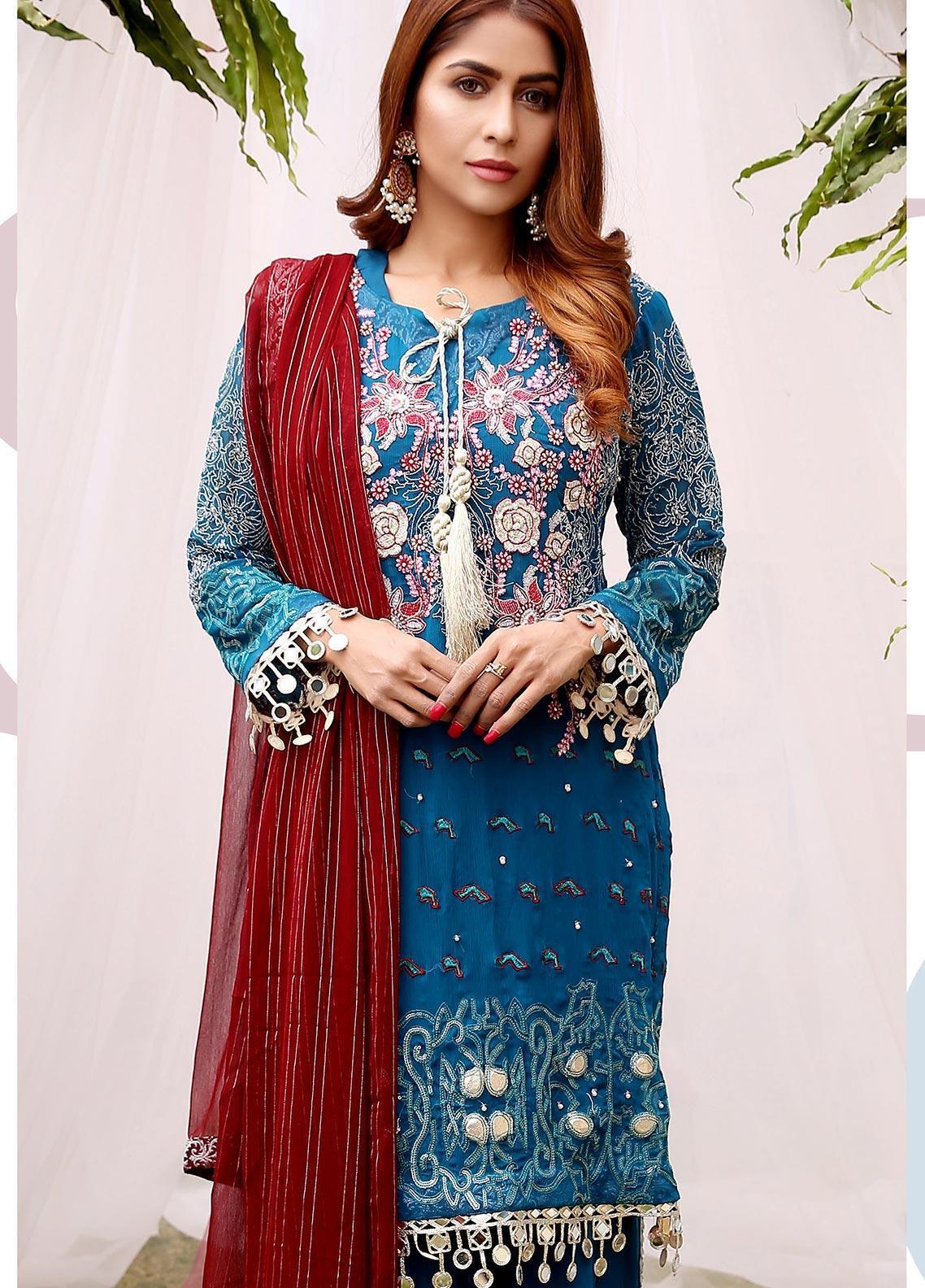 Maliha Kamal Embroidered Chiffon Unstitched 3 Piece Suit MK20C 181 EMERALD - Luxury Collection