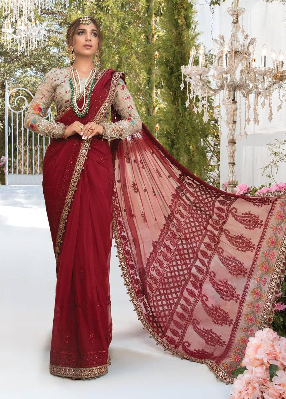 Mbroidered By Maria B Embroidered Chiffon Suits Unstitched 3 Piece MB21MB 07 - Eid Collection