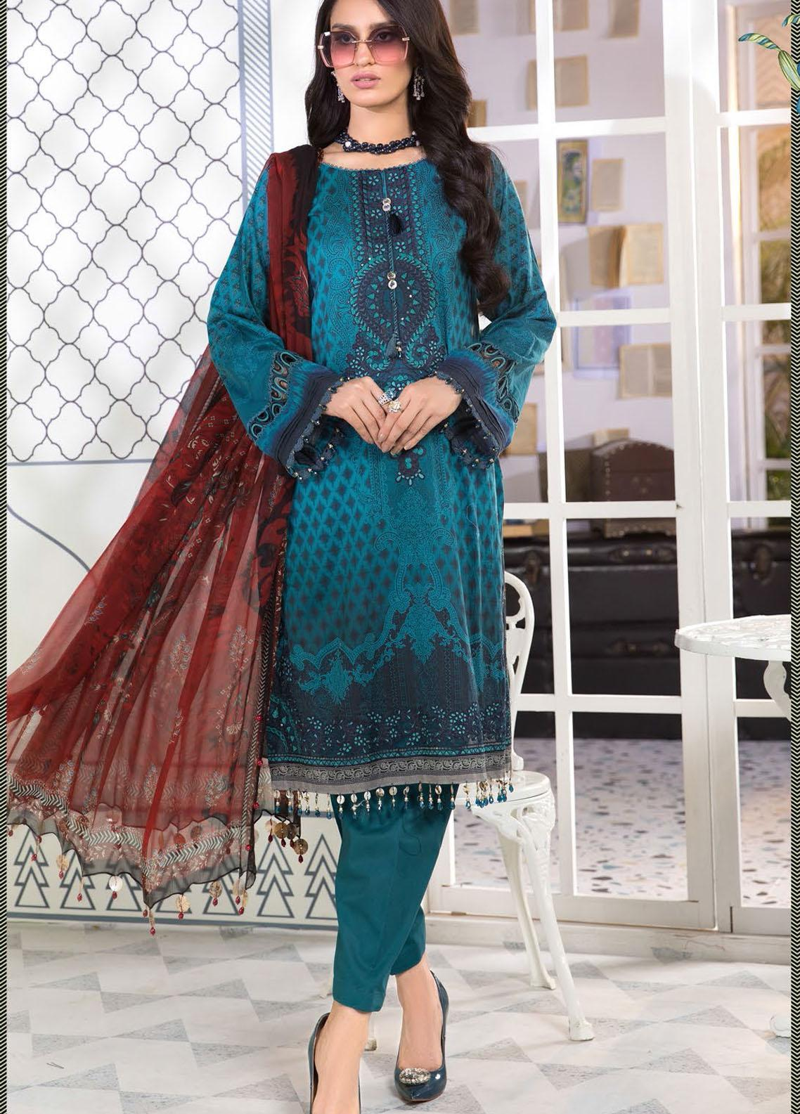 Mprints By Maria B Printed Lawn Suits Unstitched 3 Piece MB21-MP2 1101-B - Summer Collection