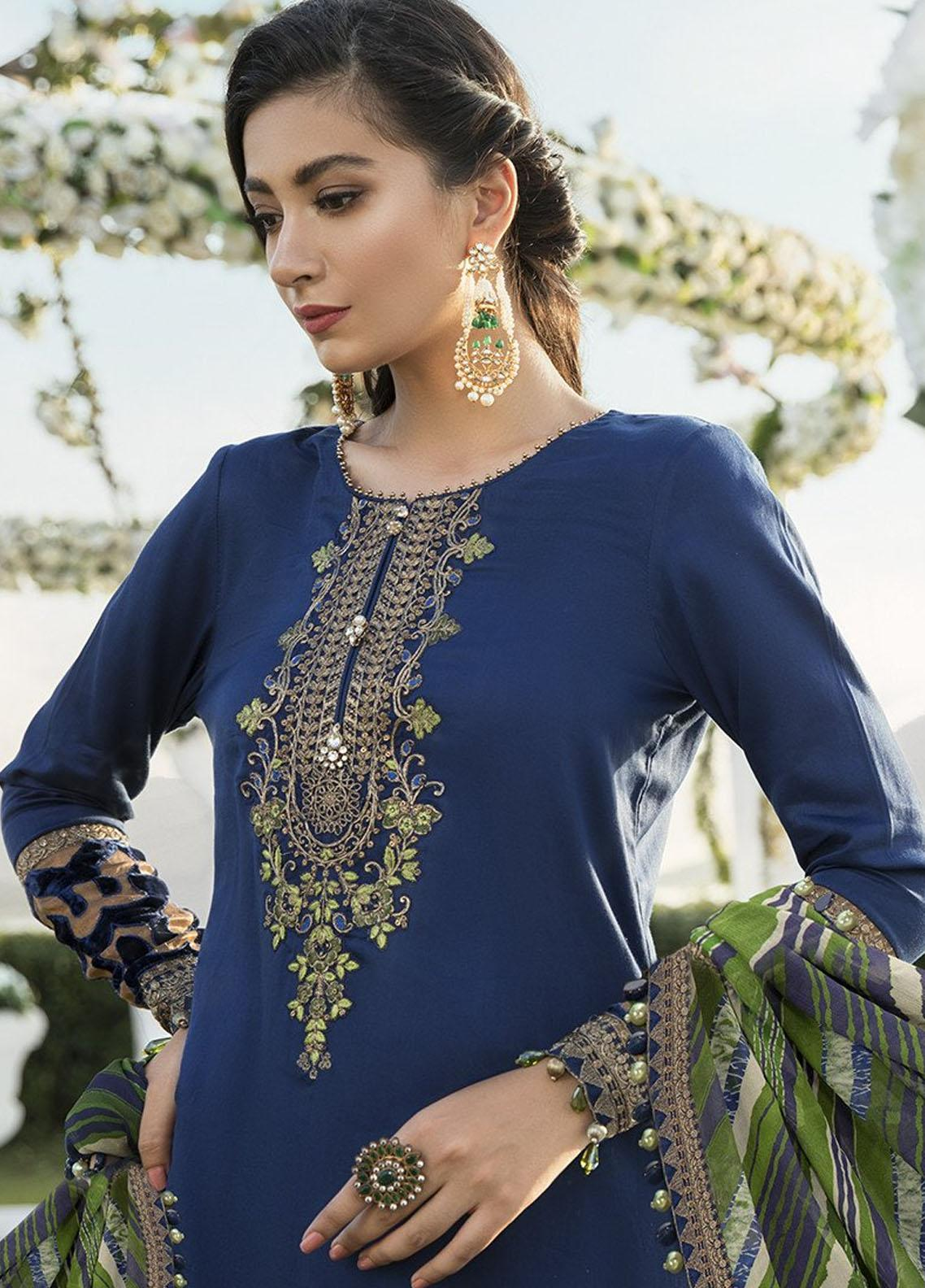 Sateen By Maria B Embroidered Cotton Satin Unstitched 3 Piece Suit Mb20sf 01 Fall Collection