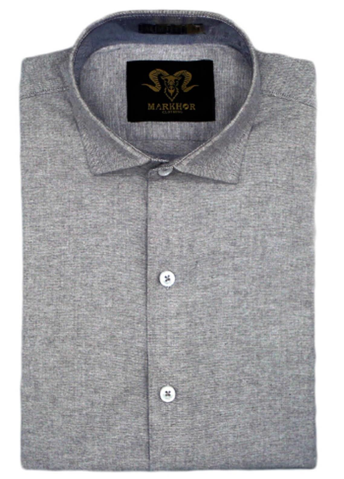 Markhor Clothing Chambray Cotton Formal Shirts for Men - Ash Grey  Chambray Cotton Slim Fit Formal Shirt