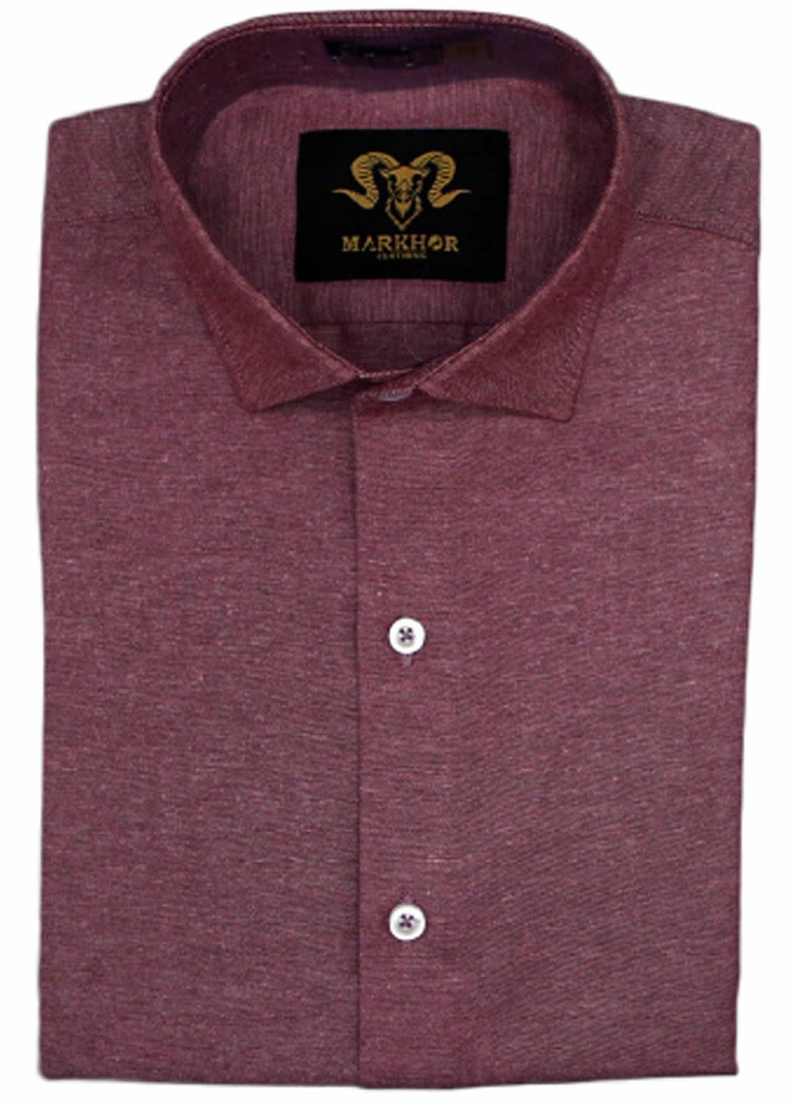 Markhor Clothing Chambray Cotton Formal Men Shirts - Burgundy  Chambray Cotton Slim Fit Formal Shirt