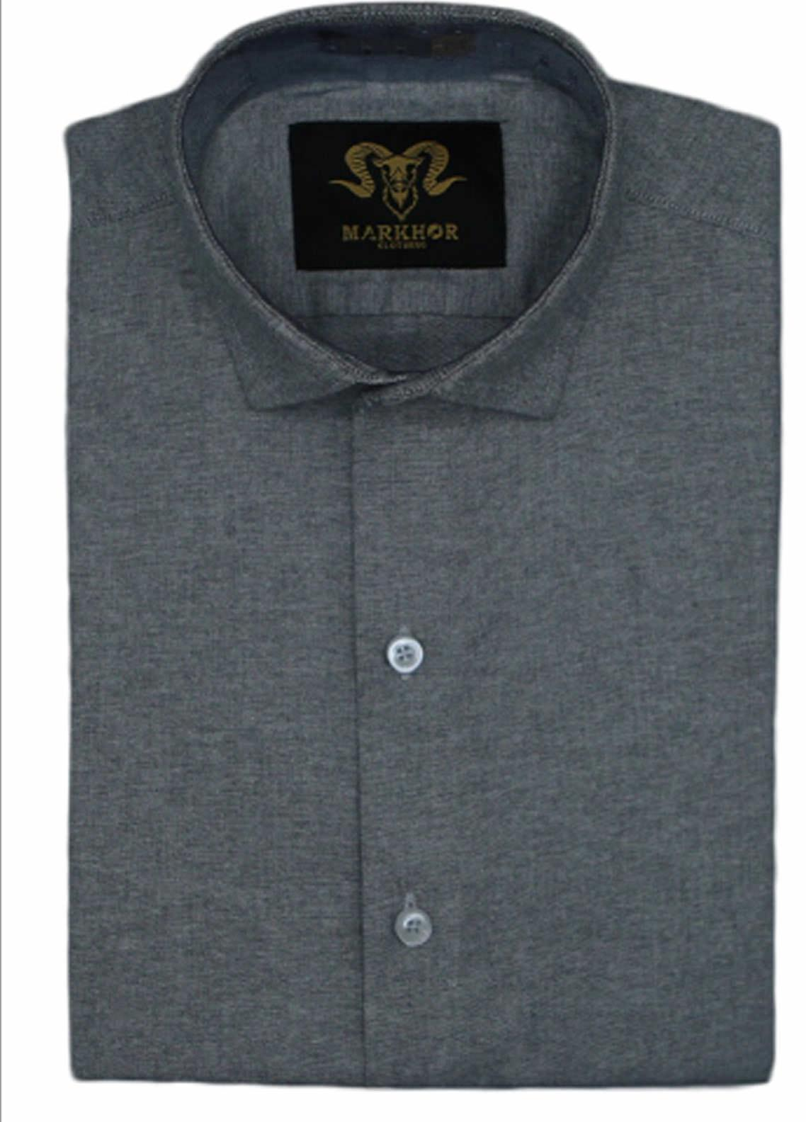 Markhor Clothing Chambray Cotton Formal Shirts for Men - Charcoal Grey Chambray Cotton Slim Fit Formal Shirt