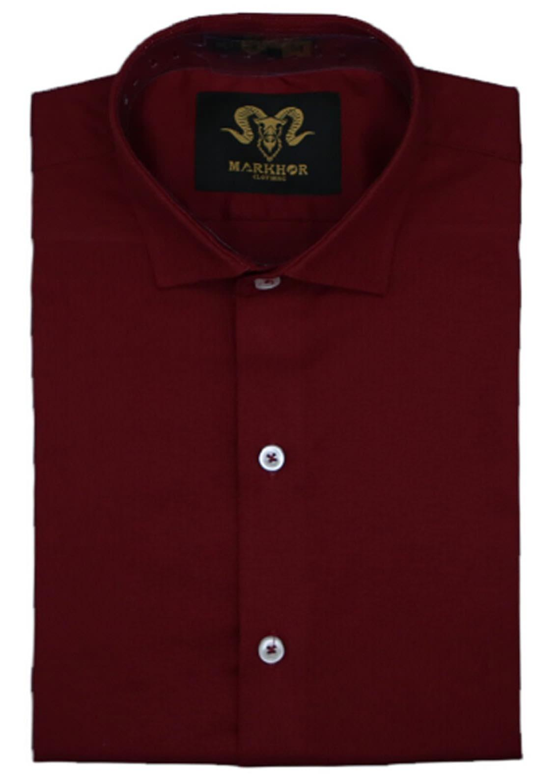 Markhor Clothing Chambray Cotton Formal Shirts for Men - Maroon Magnetic  Chambray Cotton Slim Fit Formal Shirt