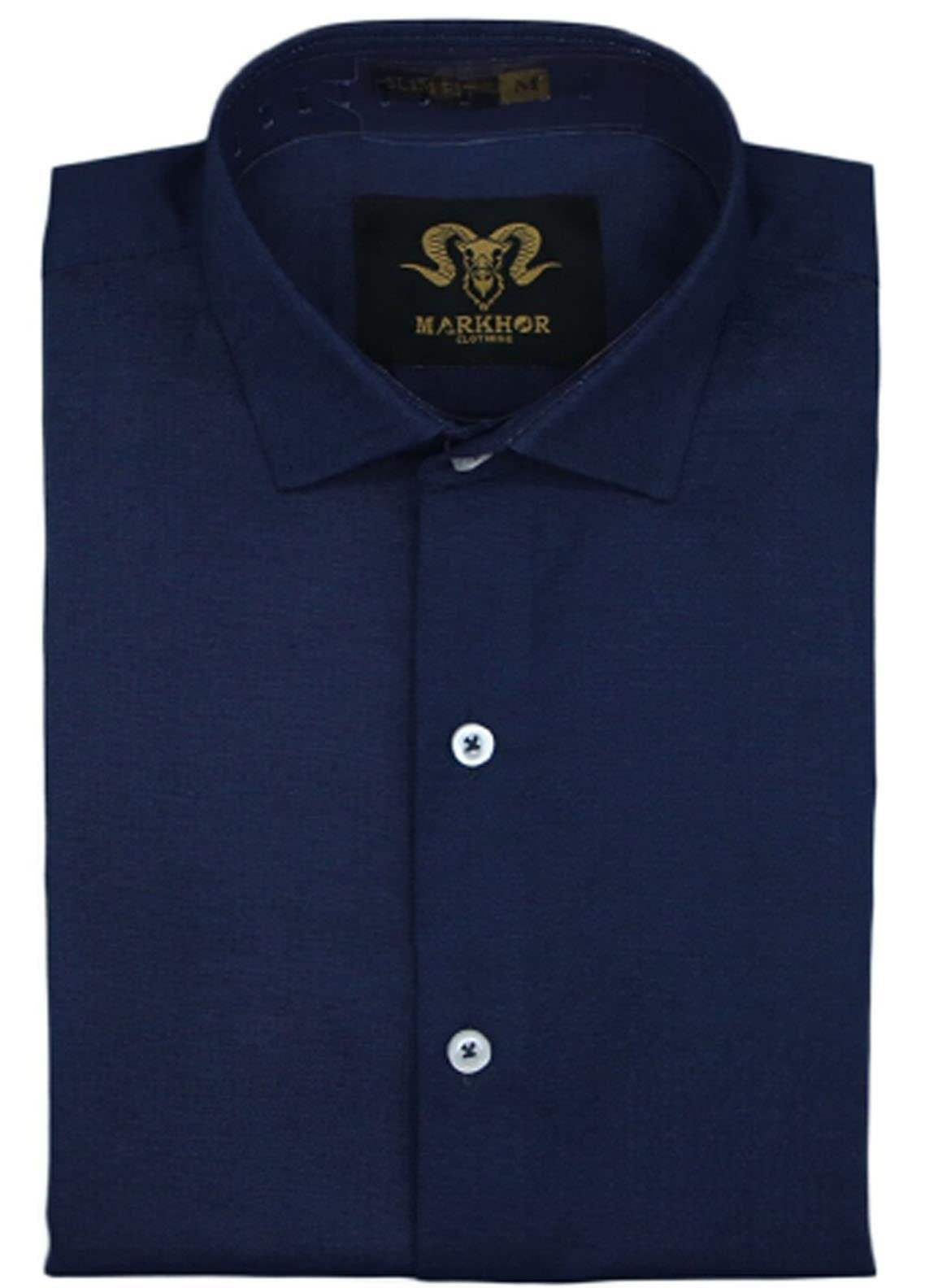 Markhor Clothing Chambray Cotton Formal Shirts for Men - Navy Blue  Chambray Cotton Slim Fit Formal Shirt