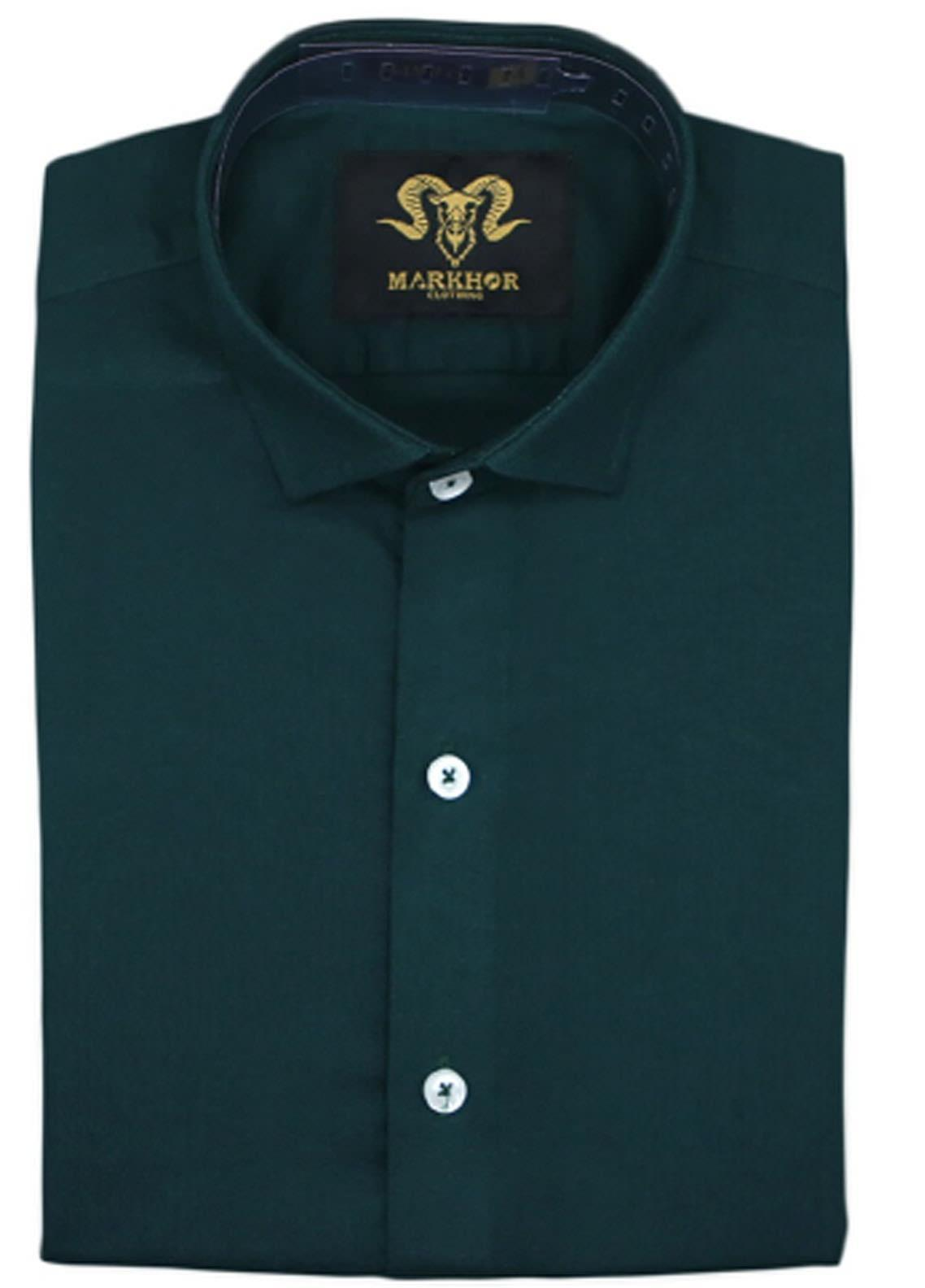 Markhor Clothing Chambray Cotton Formal Men Shirts - Crystal Green Royal  Chambray Cotton Slim Fit Formal Shirt