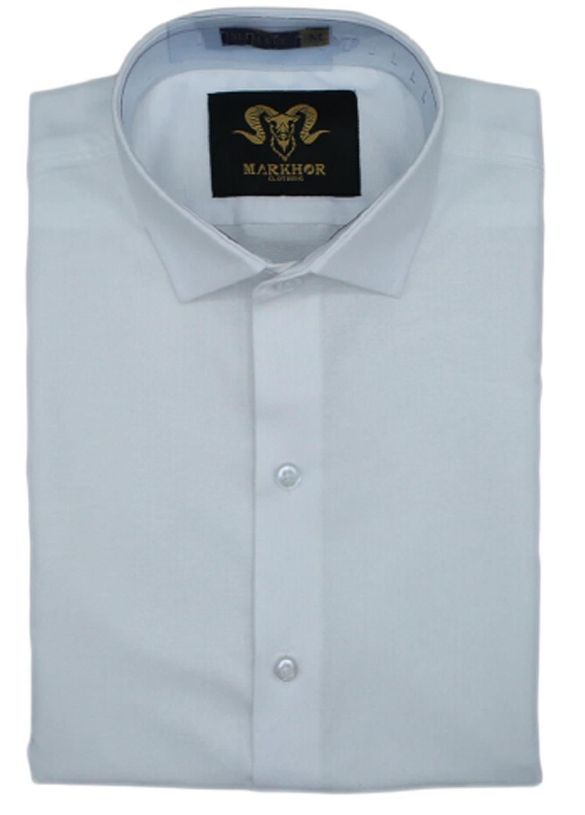 Markhor Clothing Chambray Cotton Formal Shirts for Men - White Royal  Chambray Cotton Slim Fit Formal Shirt