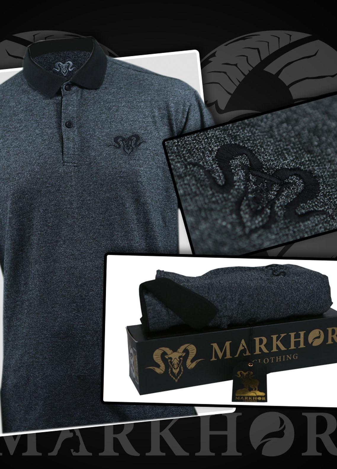 Markhor Clothing Cotton Casual Men Shirts - Grey  Royal Black Embroidered Charcoal Color Summer Polo Shirt