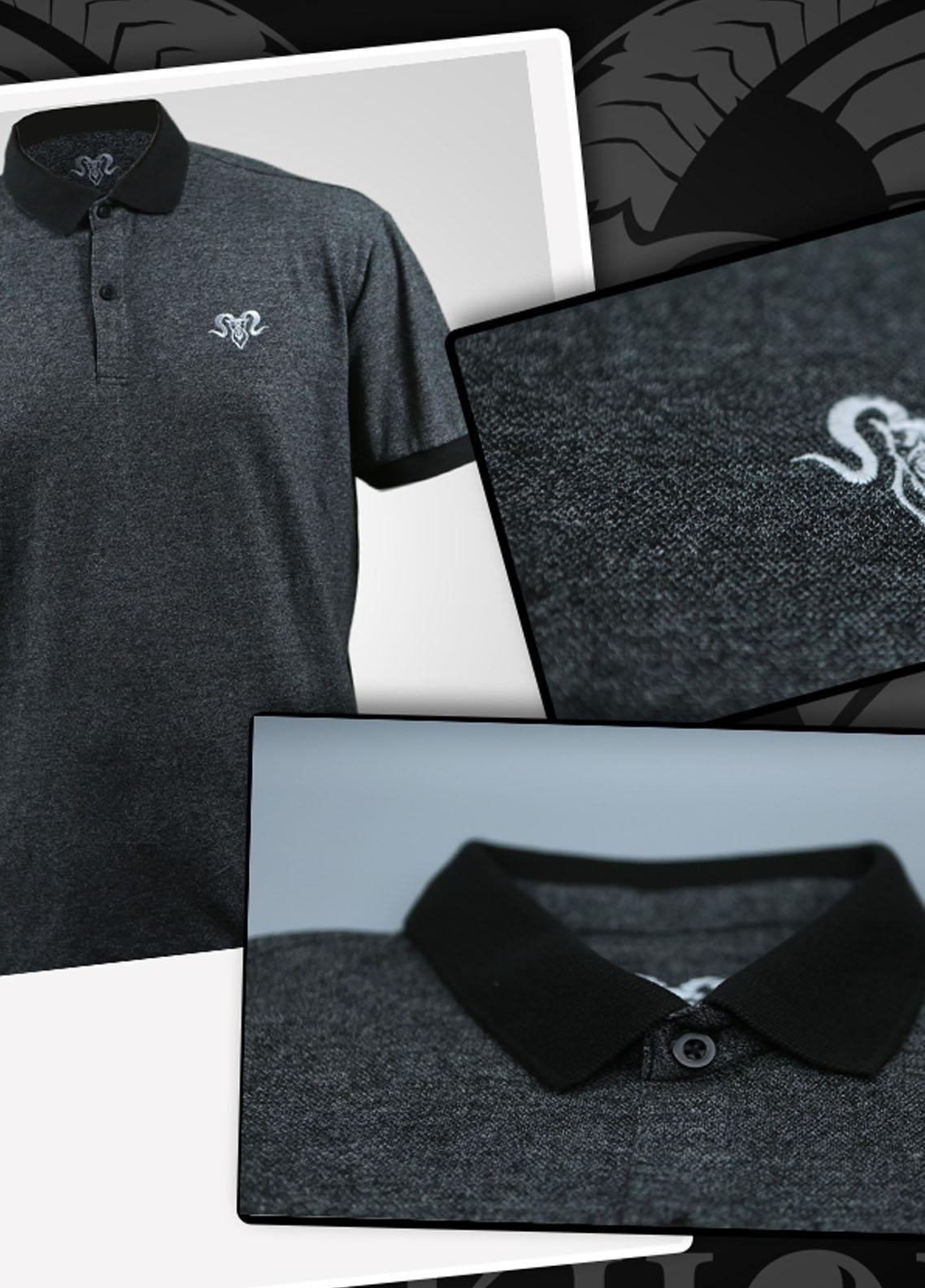 Markhor Clothing Cotton Casual Shirts for Men - Grey  Royal White Embroidered Charcoal Color Summer Polo Shirt