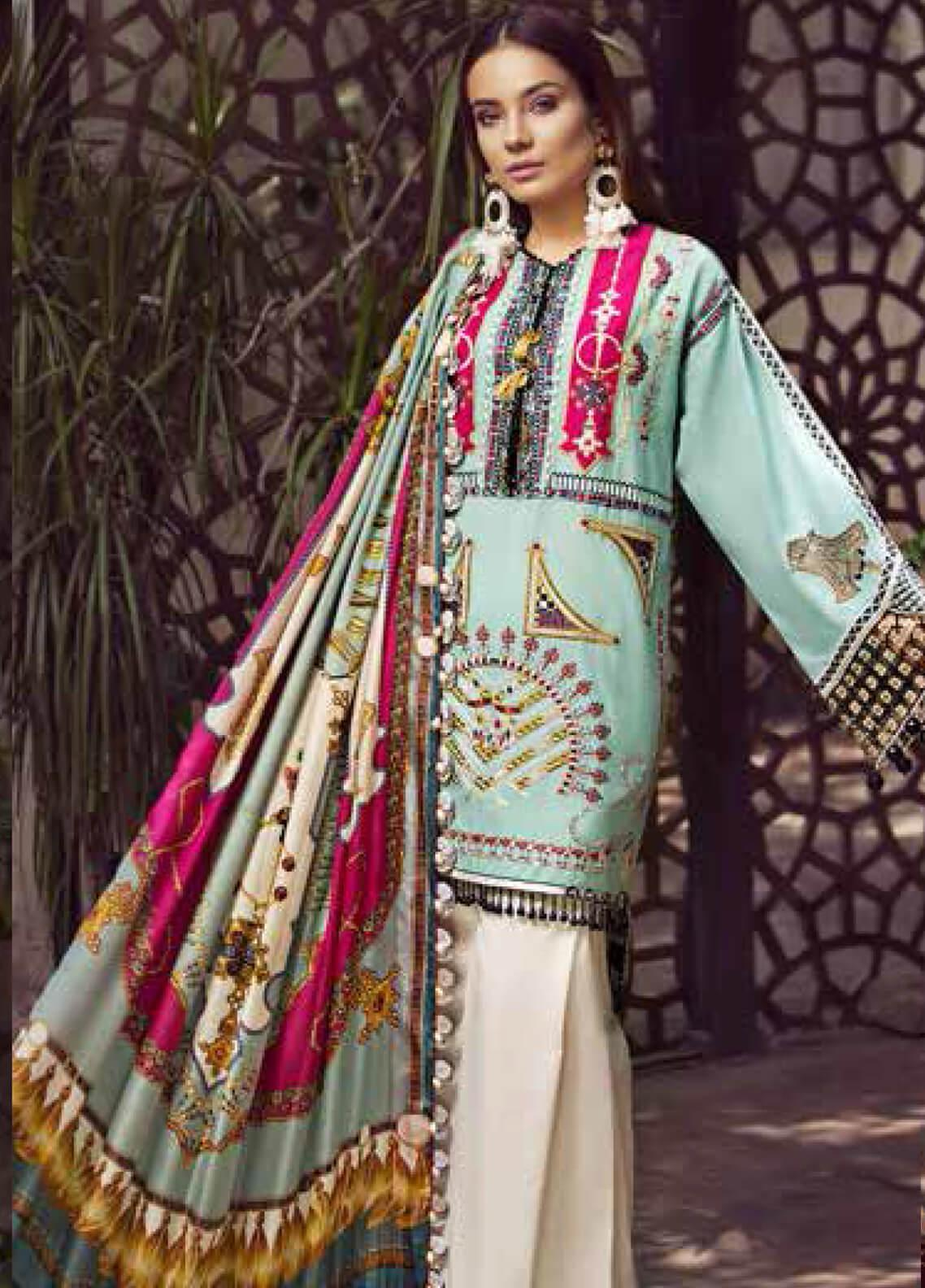 Maryam Hussain Embroidered Lawn Unstitched 3 Piece Suit MRH19F 08 LAYLA - Festive Collection