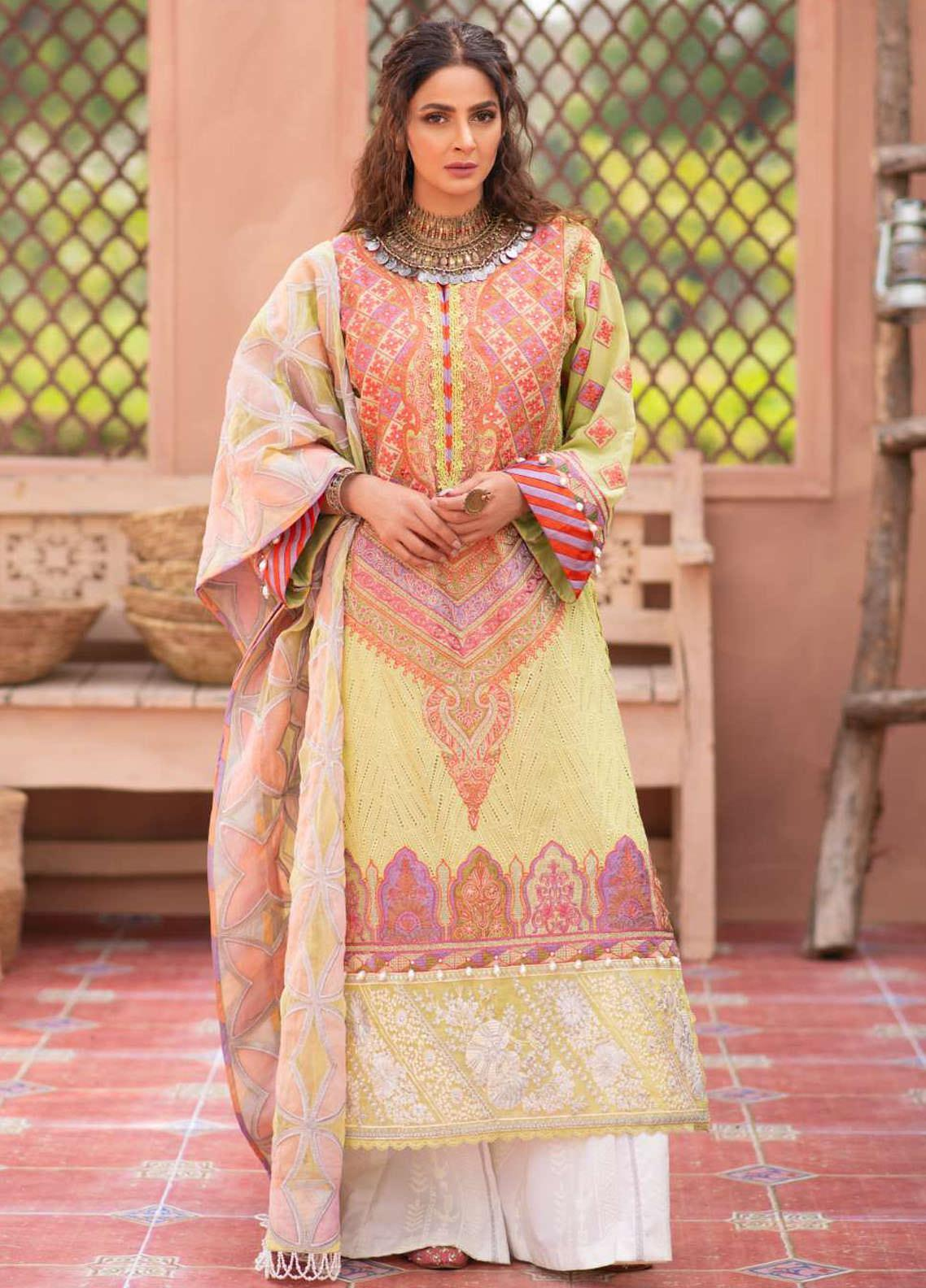 Maryam Hussain Embroidered Lawn Suits Unstitched 3 Piece MRH21LL 02-Meena - Festive Collection