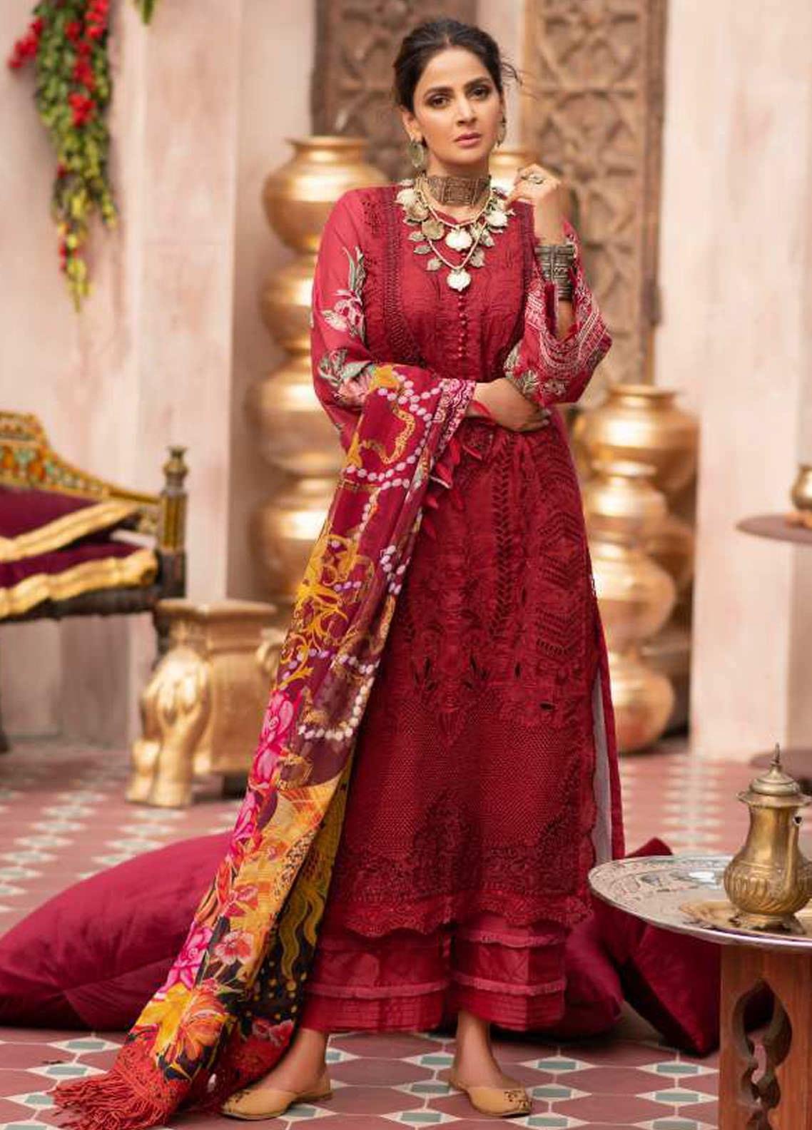 Maryam Hussain Embroidered Lawn Suits Unstitched 3 Piece MRH21LL 06-Gulab - Festive Collection
