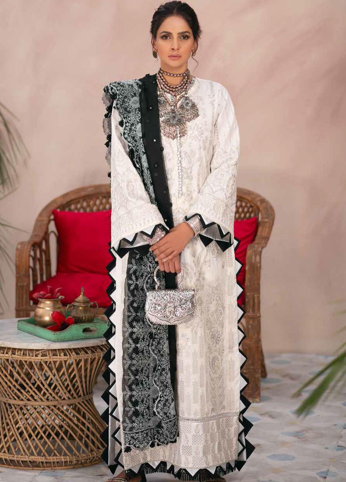 Maryam Hussain Embroidered Lawn Suits Unstitched 3 Piece MRH21LL 07-Amber - Festive Collection