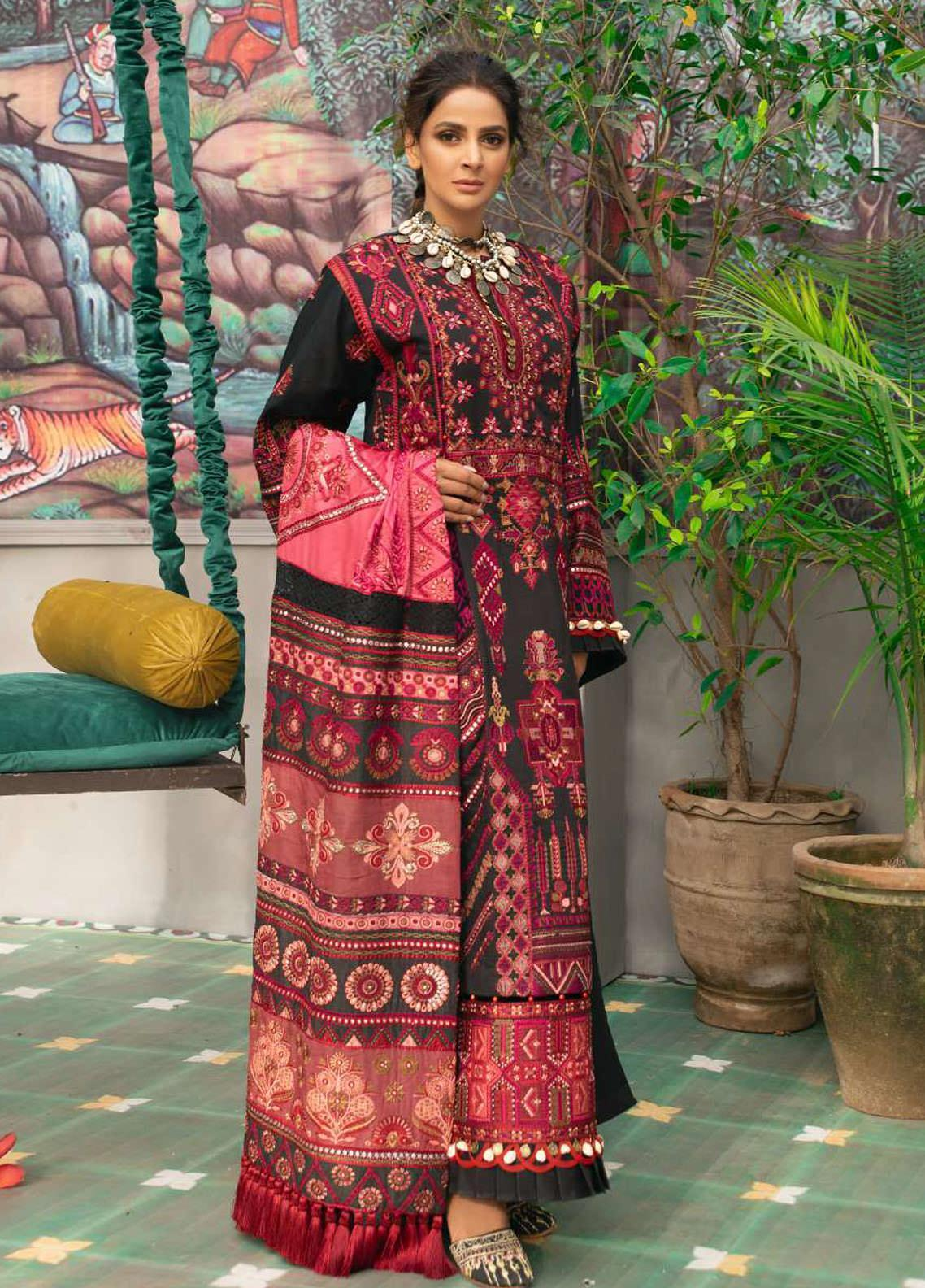 Maryam Hussain Embroidered Lawn Suits Unstitched 3 Piece MRH21LL 09-Vasal - Festive Collection