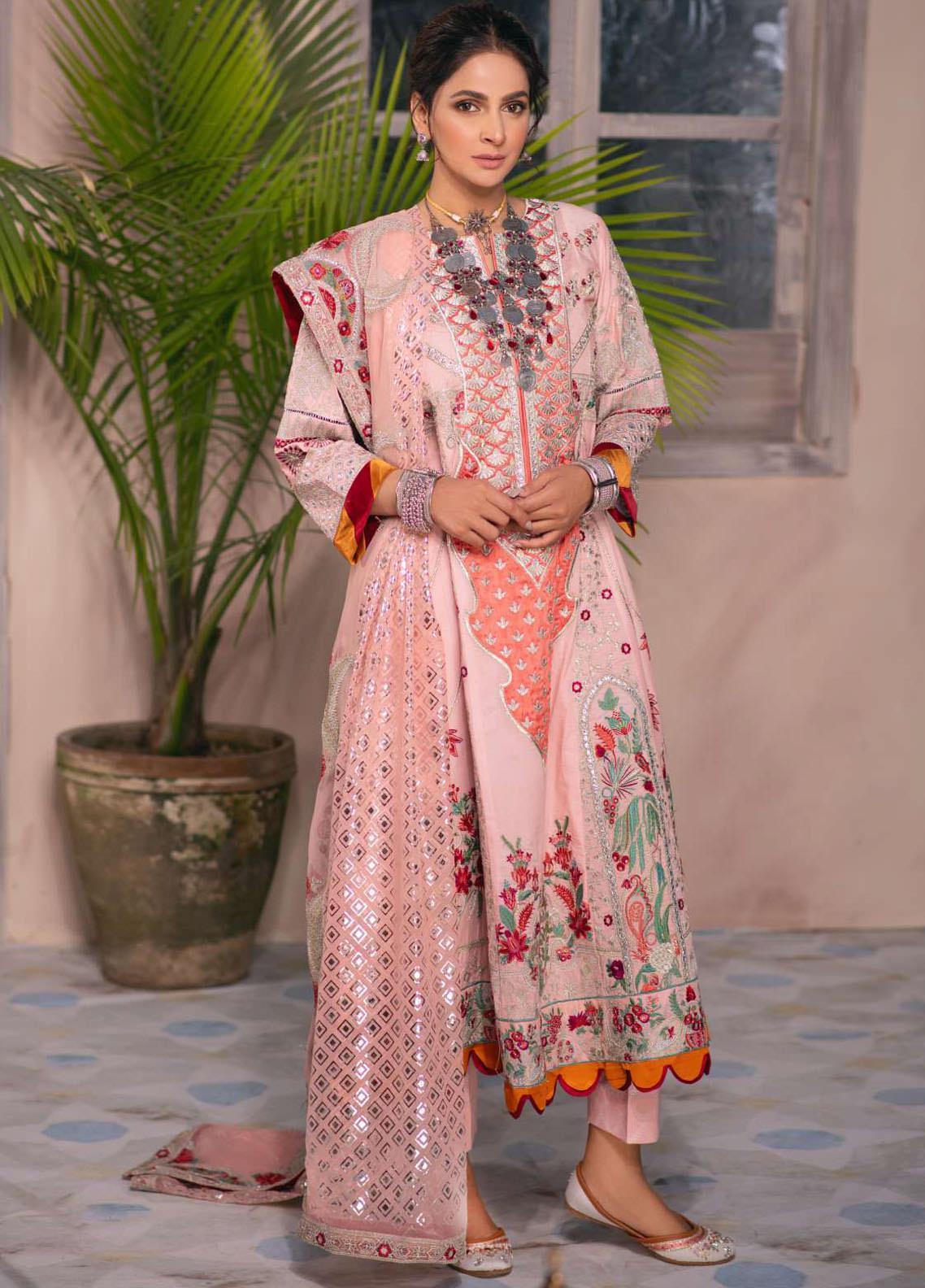 Maryam Hussain Embroidered Lawn Suits Unstitched 3 Piece MRH21LL 12-Mushk - Festive Collection