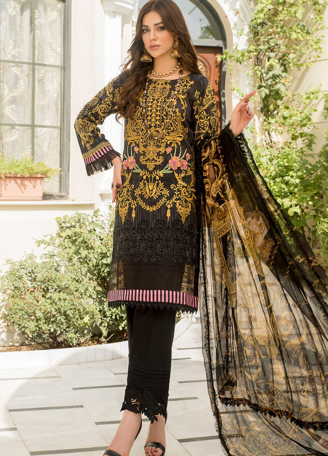 Maryam's Embroidered Lawn Suits Unstitched 3 Piece MRM21FL ML-104 - Summer Collection